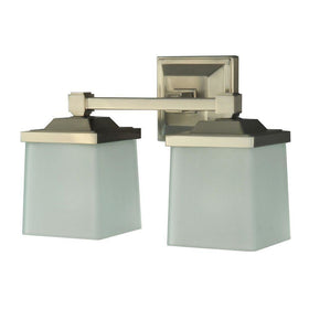 Martha Stewart Living Skylands 2-Light Bath Vanity Fixture Brushed Nickel