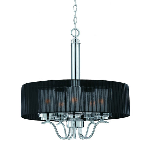 Triarch International Cylindique 5-Light Pendant Fixture Chrome Black
