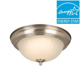 Commercial Electric LED 15-100watt Flushmount Ceiling Light Brushed Nickel (2-pack)-OB
