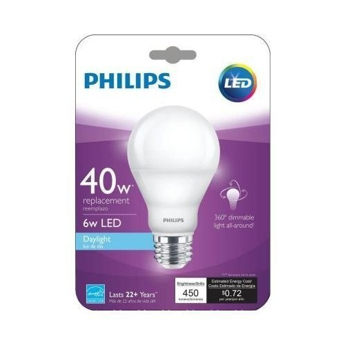 Philips LED E26 medium A19 06=40 watt 5000k Light Bulb
