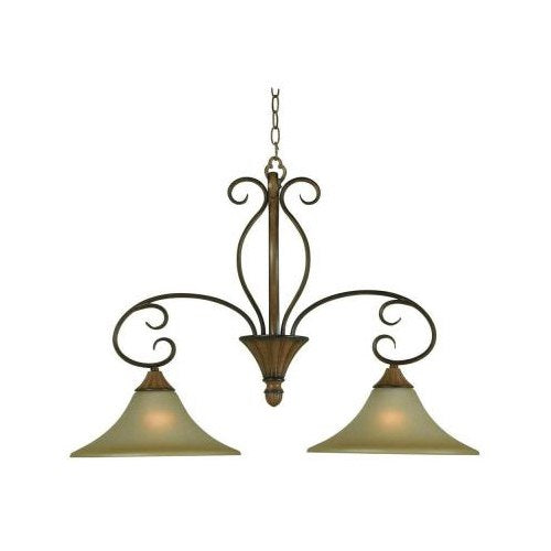 Hampton Bay Chester 2-Light Chandelier Aruba Teak