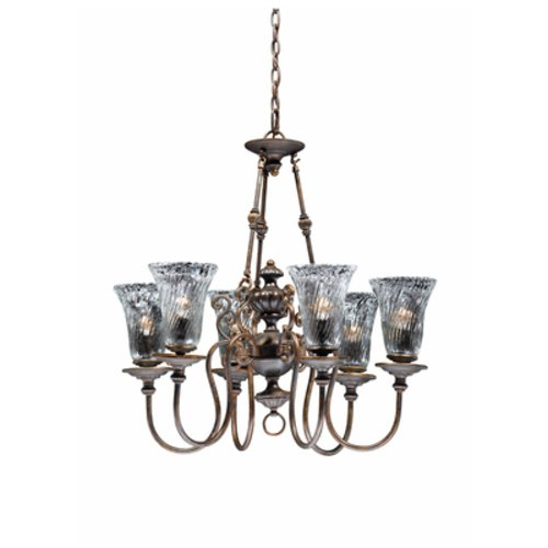 Triarch International Cafe 6-Light Chandelier Fixture Tortoise Shell