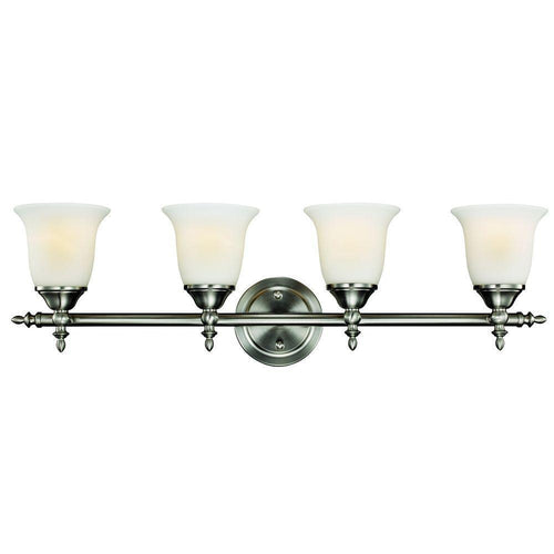Hampton Bay Olgelthorpe 4-Light Vanity Fixture Brushed Nickel-OB