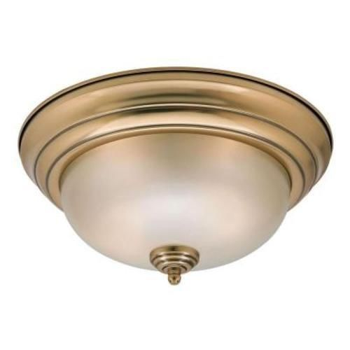 Home Decorators Keswick 2-Light Flush Mount Brushed Brass-OB