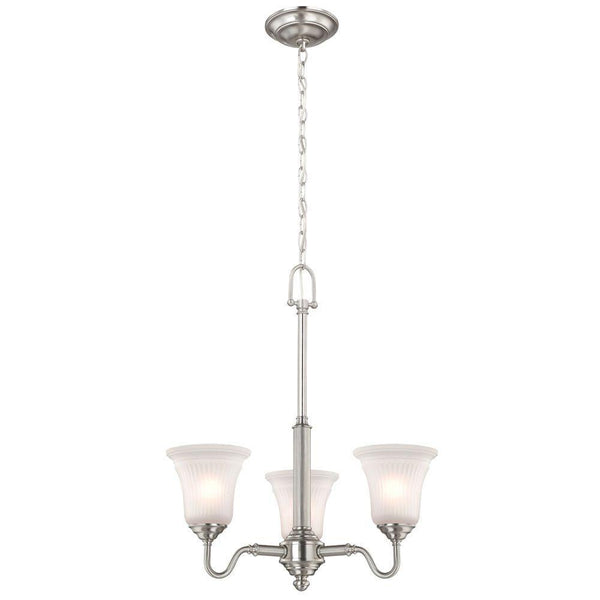 Commercial Electric 3-Light Chandelier Brushed Nickel-OB
