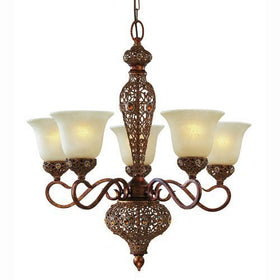 Triarch International Crown Jewel 5-Light Chandelier Antiqued Gold