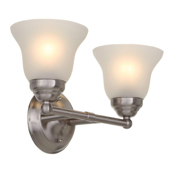 Hampton Bay Ashhurst 2-Light Vanity Fixture Brushed Nickel-OB