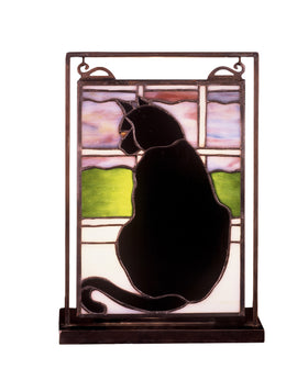 Meyda Tiffany Cat in Window Lighted Mini Tabletop Window 56834 705696568345