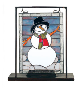 "Meyda Tiffany 9.5""W X 10.5""H Snowman Lighted Mini Tabletop Window"