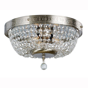 Hampton Bay Crystal Accents 3-Light Flush Mount Fixture Brushed Nickel-OB