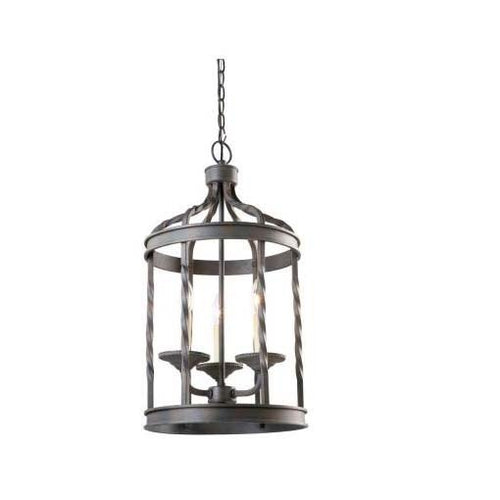 Hampton Bay Barcelona 3-Light Hanging Lantern Black-OB