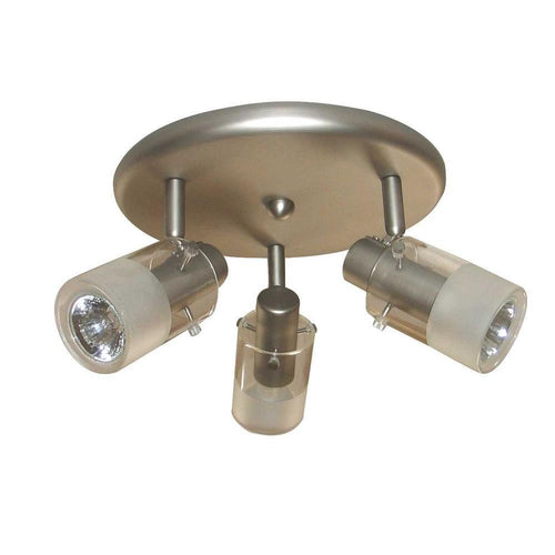 Hampton Bay Halogen 3-Light Round Ceiling Fixture Brushed Steel-OB