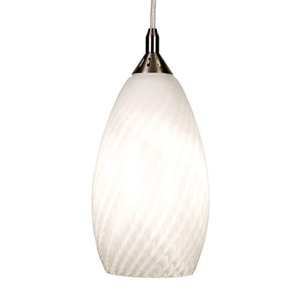 Home Decorators White Fishline Pendant Fixture Brushed Nickel-OB