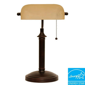 Hampton Bay Bankers Table Lamp Oil Rubbed Bronze-OB