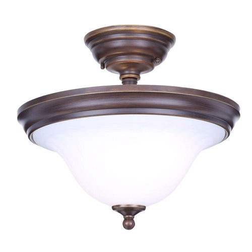Hampton Bay Somerset 2-Light Semi-Flush Mount Fixture Bronze-OB