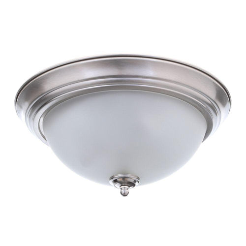Commercial Electric 1-Light Flush Mount Fixture Brushed Nickel (2-pack)-OB