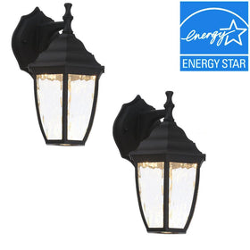 Hampton Bay LED Exterior Wall Lantern Black (2-pack)-OB