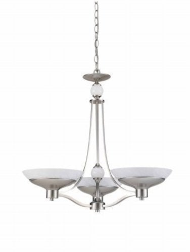 Triarch International Halogen VI 3-Light Chandelier Brushed Steel