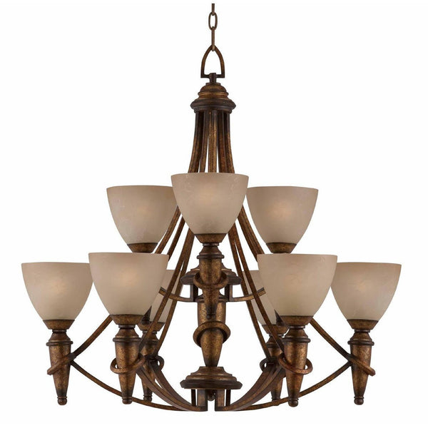 Triarch International Parthenon 9-Light Chandelier Fixture Antique Gold