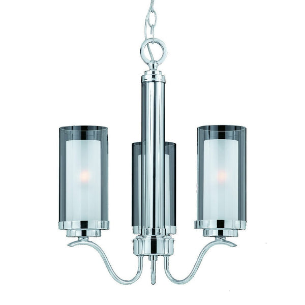 Triarch International Cylindique 3-Light Chandelier Light Chrome
