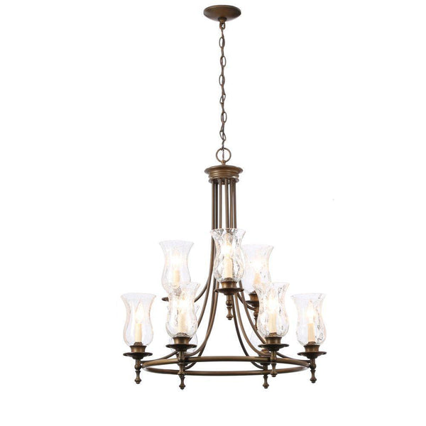 Hampton Bay Grace 9-Light Chandelier Rubbed Bronze-OB