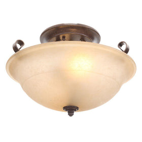 Hampton Bay Essex 2-Light Semi-Flush Mount Fixture Aged Black-OB