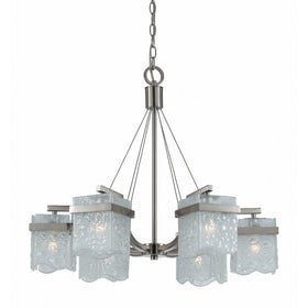 Triarch International Arctic Ice 6-Light Chandelier Satin Nickel