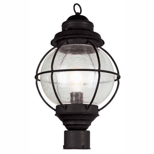 Trans Globe Lighthouse 1-Light Outdoor Post Light Black-OB