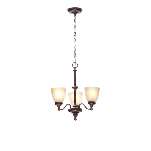 Hampton Bay Bristol 3-Light Reversible Chandelier Nutmeg Bronze-OB