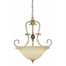 Triarch International Fleur De Lis 3-Light Pendant Fixture Silver Gold