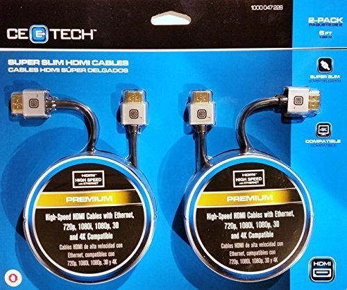 CE Tech Super Slim HDMI Cable 6' Black 2-Pack