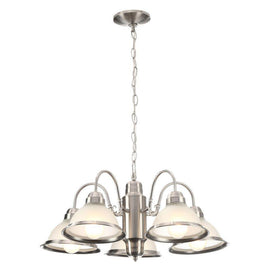 Commercial Electric Halophane 5-Light Chandelier Brushed Nickel-OB
