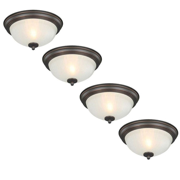 Commercial Electric 1-Light Flush Mount Fixture Oil Rubbed Bronze (4-pack)-OB