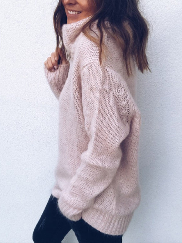 Warm Female High Collar Pullover Sweater - BelleChloe