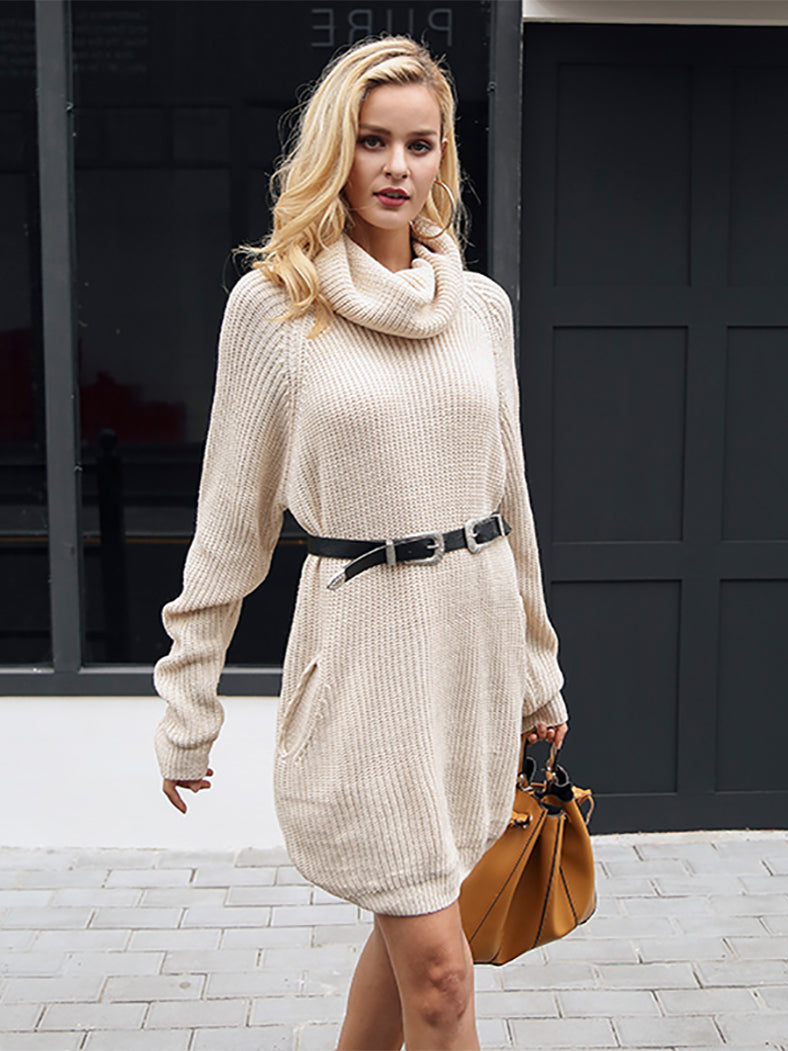 Turtleneck Knitted Sweater Casual Loose Long Sweater Dress-Dresses-BelleChloe