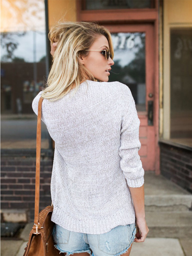 V Neck Long Sleeve Irregular Pullover Knit Sweater-Sweaters-BelleChloe