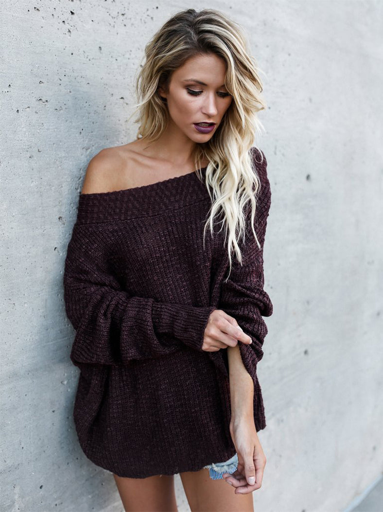 Off Shoulder Baggy Jumper Loose Pullover Sweater-Sweaters-BelleChloe