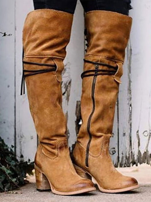 163c017101f1a Knee High Chunky Boots Vintage Warm Winter Boots-Boots-BelleChloe