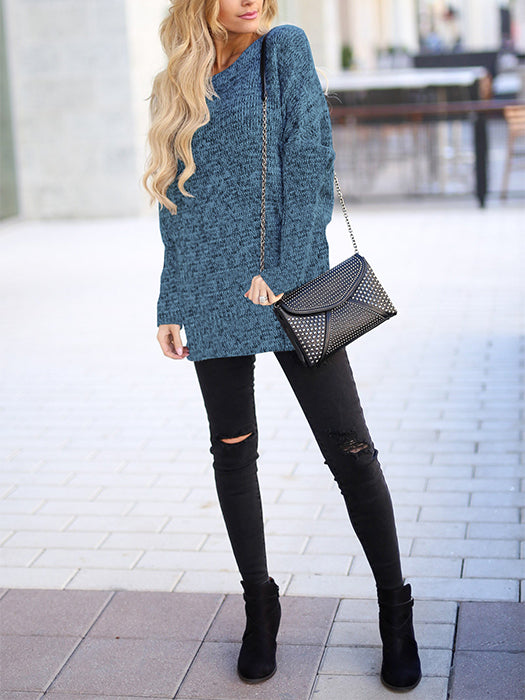 Round Neck Loose Batwing Sleeves Sweater-Sweaters-BelleChloe