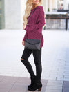 Round Neck Loose Batwing Sleeves Sweater - BelleChloe