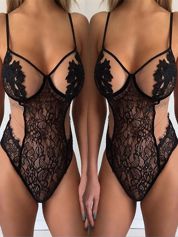 Solid Lace Floral Sexy Lingerie - BelleChloe