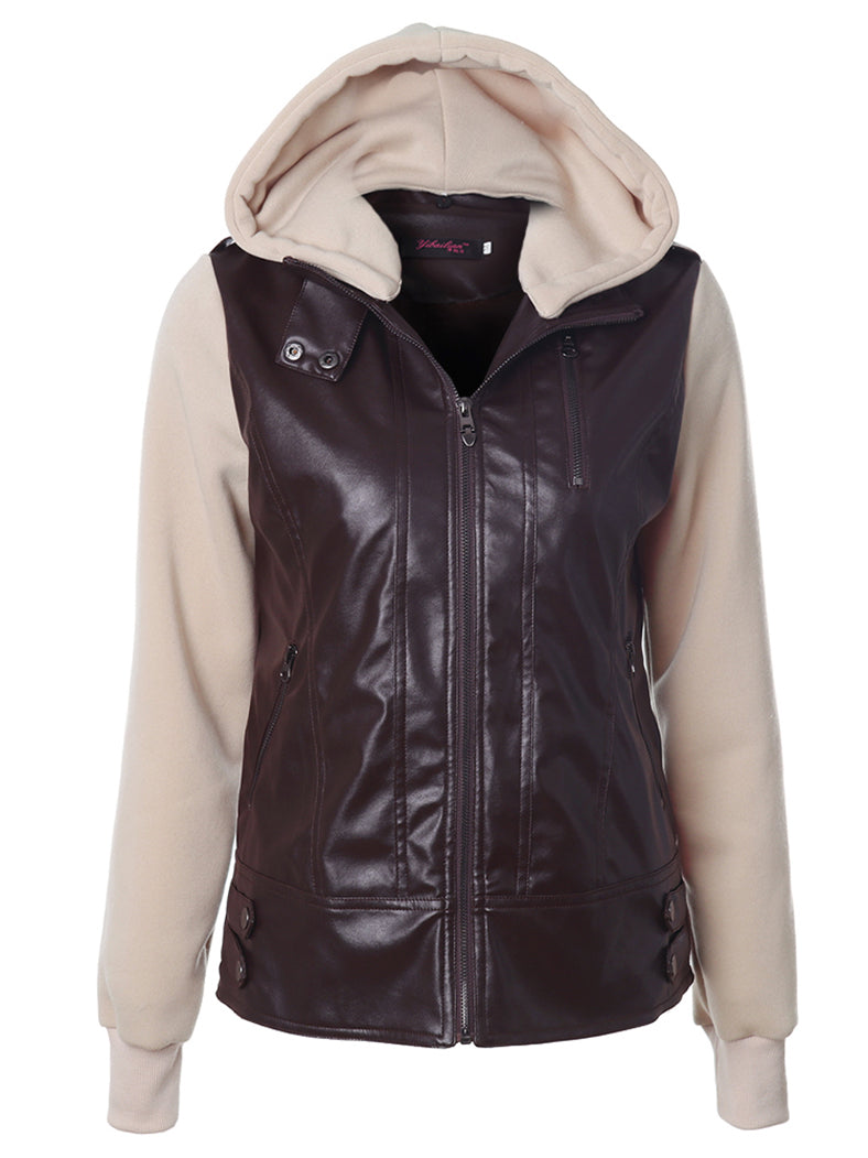 Detachable Hood Stitching Zipper Jacket - BelleChloe