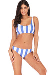 Striped Printed Cross Straps Split Bikini