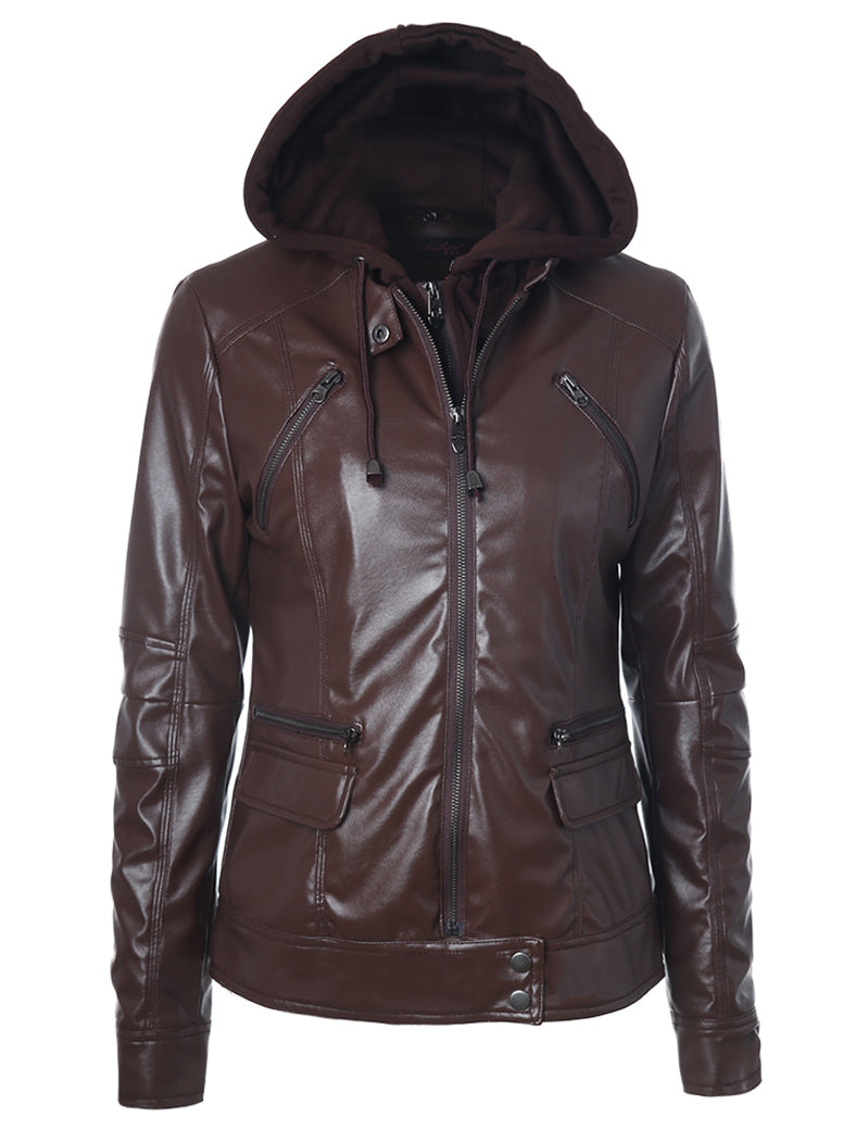 Drawstring Detachable Hood Zipper Pocket PU Locomotive Jacket - BelleChloe