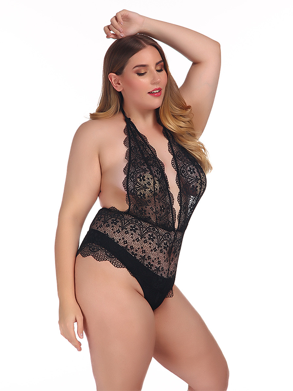 Solid Deep-V Lace Floral Lingerie - BelleChloe