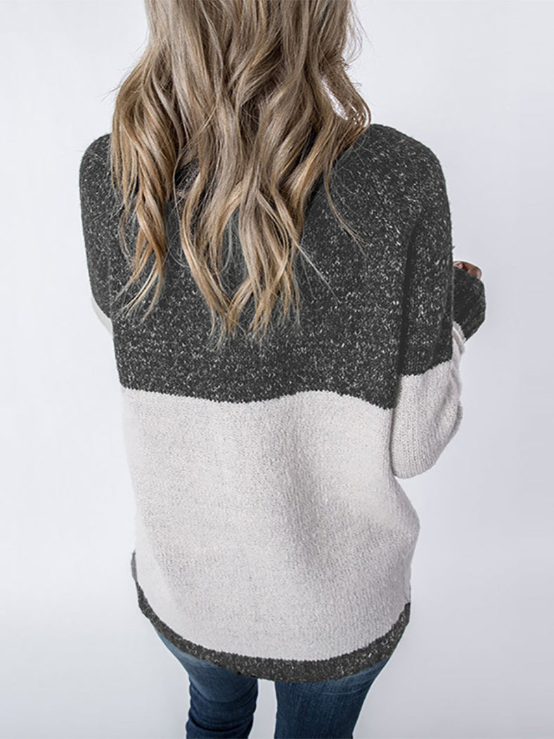 New Collection Velvet Thickening Fleece Colorblock Pullover - BelleChloe