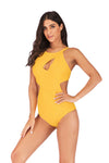 SLV YELLOW SPLIT CUTOUT SWIMSUIT ONE PIECES