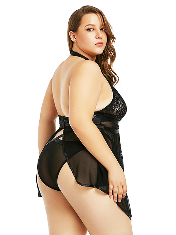 Halter Plunging One-Piece Lingerie - BelleChloe