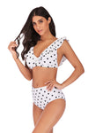 SLV BLACK AND WHITE BEAUTY POLKA DOT SWIMSUIT - BelleChloe