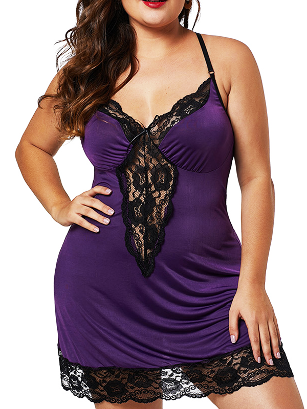 Women Plus Size Lace V-Neck Satin Chemise Back Crisscross Lingerie